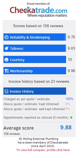 Checkatrade Rating for JDMolingExternalPlumbing
