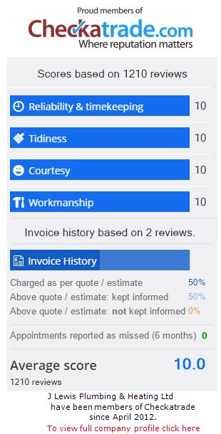 Checkatrade Rating for JLewisPlumbingAndHeatingLtd