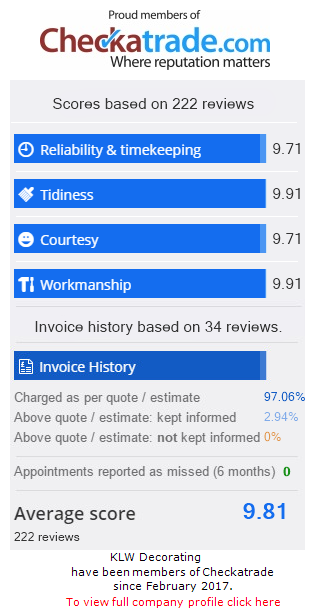 Checkatrade Rating for KLWDecorating