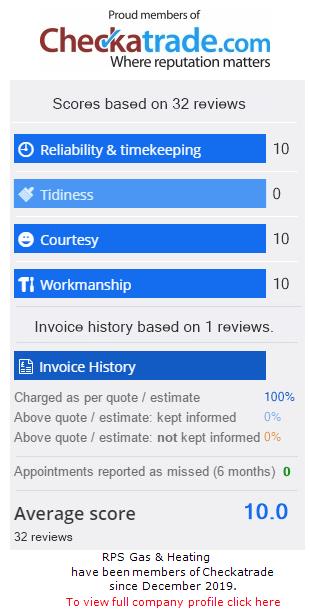 Checkatrade Rating for RpsGasAndHeating