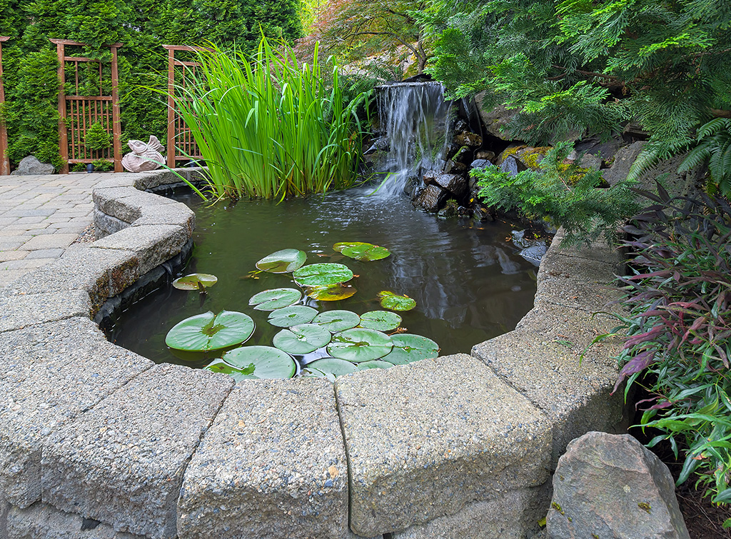 large water feature with waterfall