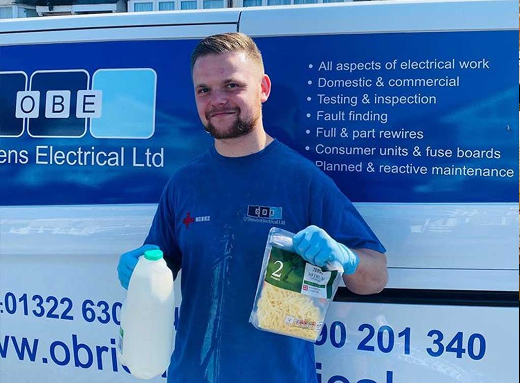 OBriens electrical buying groceries for elderly customer
