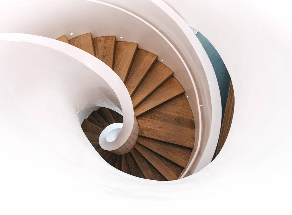 White wood spiral staircase