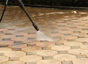 Patio cleaning in progress