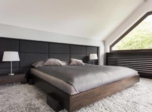 A bed with integrated storage