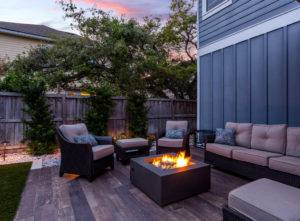 patio decking fire pit installation