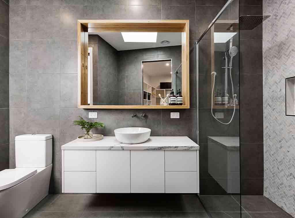Herringbone tiling in your shower room