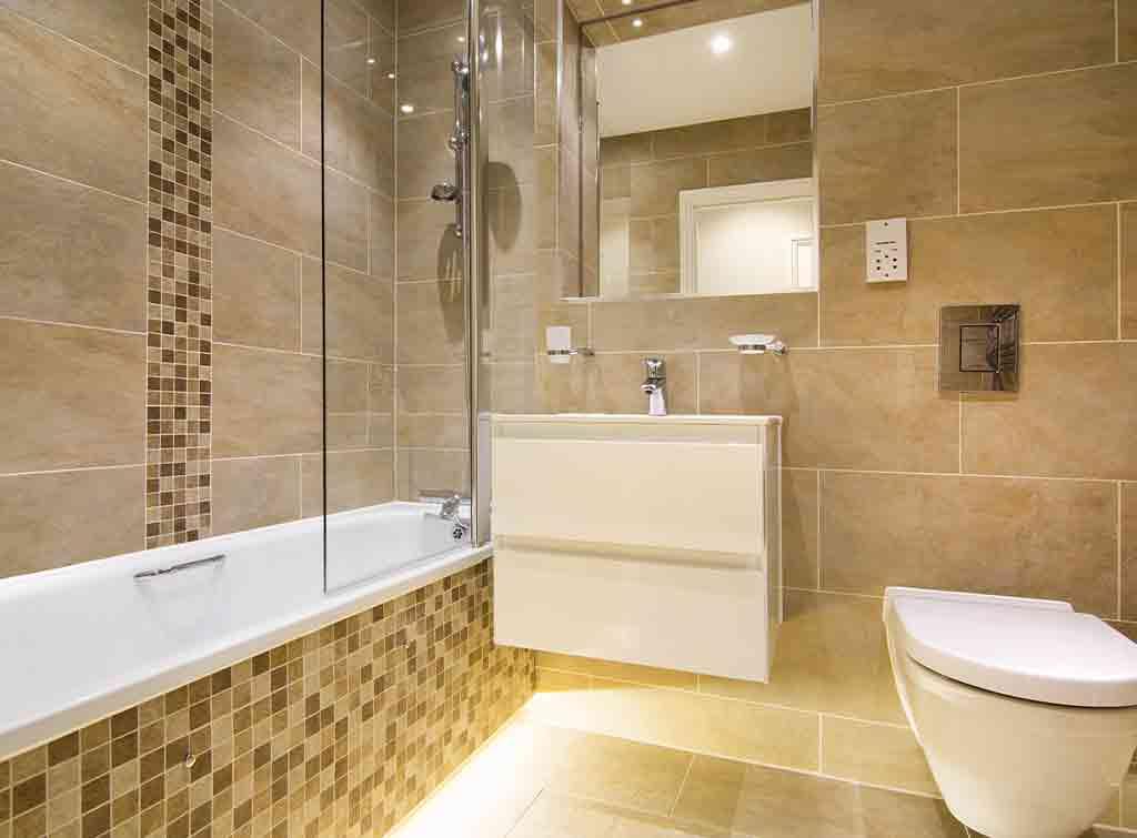 Beige and brown bathroom tiles
