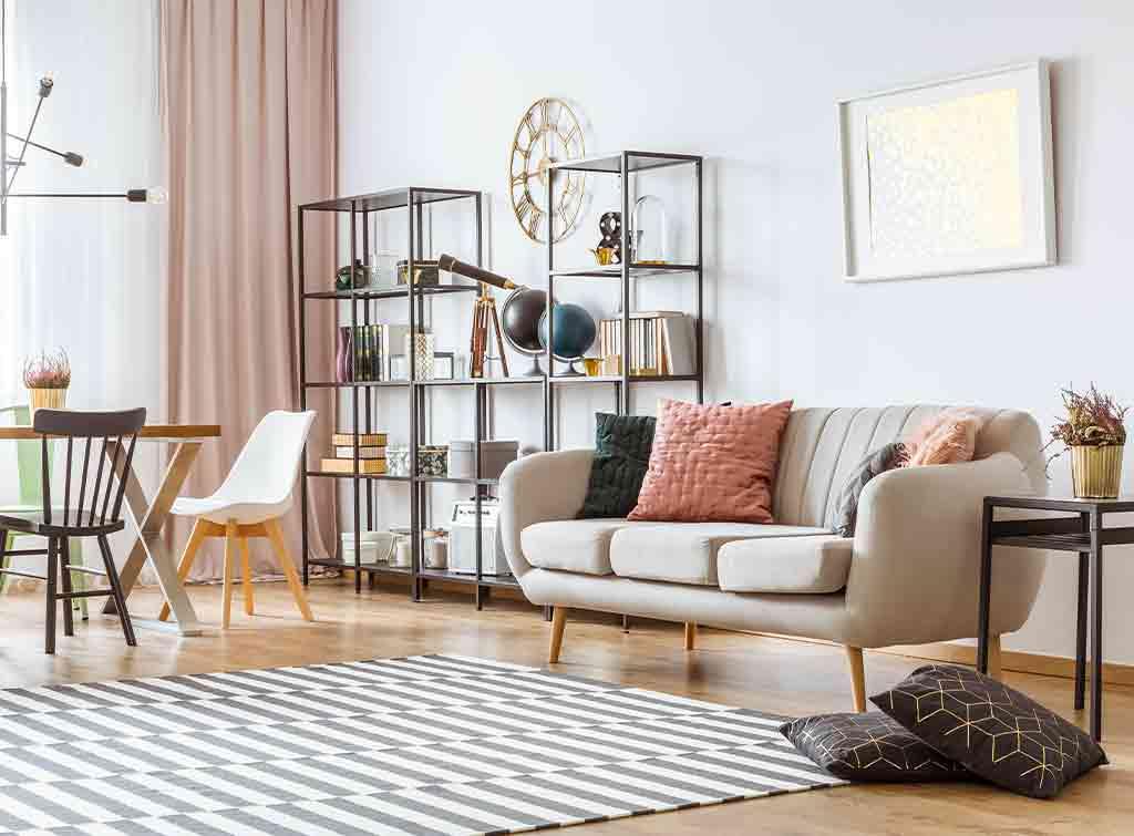 Bright living room interior design example