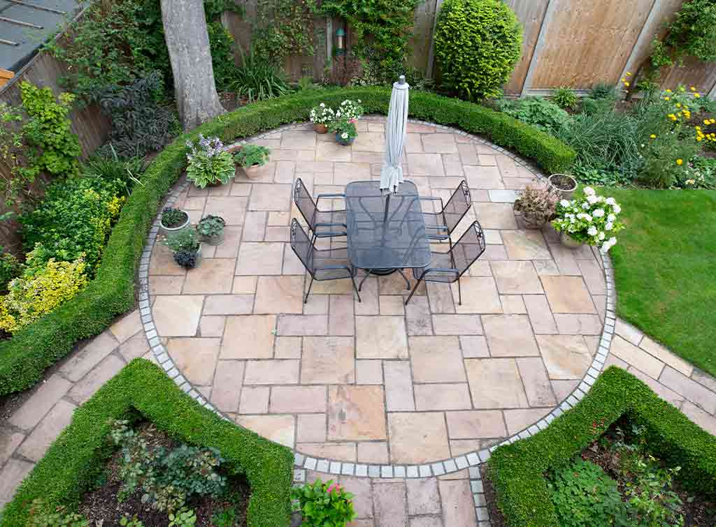 Finished patio in stunning garden