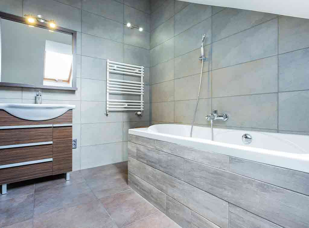 Grey tiles combined with wooden features