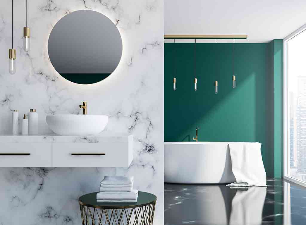 White marble tiles with a pop of colour