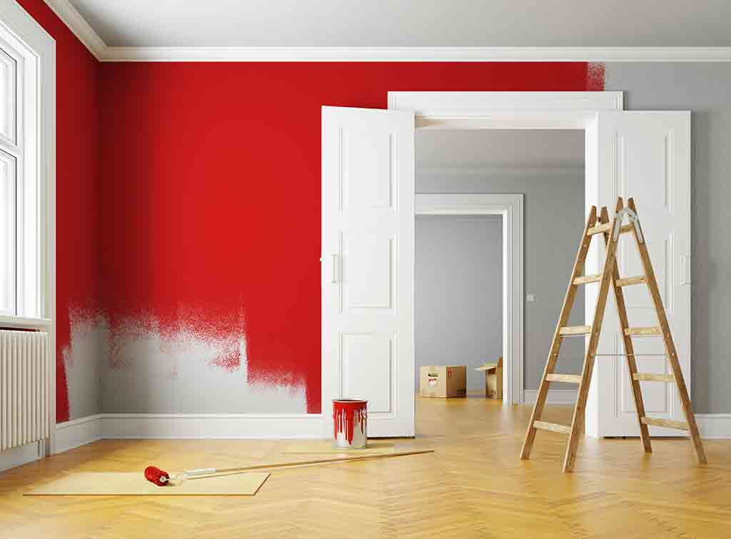 Painting a room in red